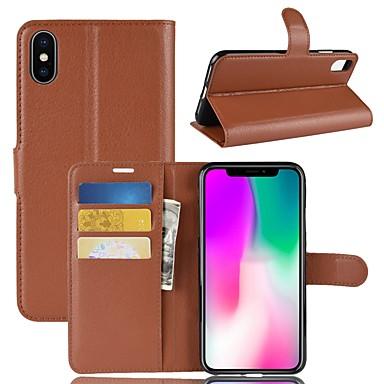 غطاء من أجل Apple iPhone XS / iPhone XR / iPhone XS Max محفظة / حامل البطاقات / قلب غطاء كامل للجسم لون سادة قاسي جلد PU