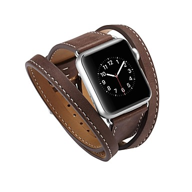 billige Herreure-Kalvehår Urrem Strap for Apple Watch Series 4/3/2/1 Sort / Blåt / Rød 23cm / 9 tommer 2.1cm / 0.83 Tommer