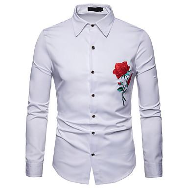 رجالي عمل الأعمال التجارية / أساسي مطرز قميص, لون سادة / ورد / ألوان متناوبة نحيل / كم طويل
