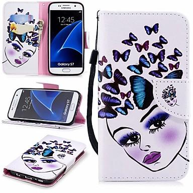 غطاء من أجل Samsung Galaxy S7 محفظة / حامل البطاقات / مع حامل غطاء كامل للجسم فراشة قاسي جلد PU