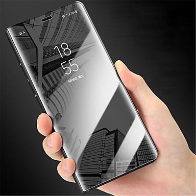 Недорогие Чехлы и кейсы для Galaxy Note 4-Кейс для Назначение SSamsung Galaxy Note 9 / Note 8 / Note 5 Зеркальная поверхность / Флип Чехол Однотонный Твердый ПК