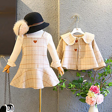 cheap Girls' Clothing Sets-Kids Girls' Active Street chic Daily Going out Plaid Embroidered Long Sleeve Regular Polyester Clothing Set Beige