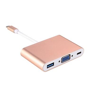 ieftine Cabluri Mac-Tip C Adapter <1m / 3ft 1 la 3 Aluminiu Adaptor pentru cablu USB Pentru Macbook / Samsung / Lenovo