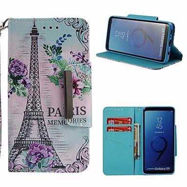 غطاء من أجل Samsung Galaxy S9 محفظة / حامل البطاقات / مع حامل غطاء كامل للجسم برج ايفل قاسي جلد PU