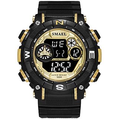 זול שעוני גברים-SMAEL בגדי ריקוד גברים שעוני ספורט שעון דיגיטלי Japanese דיגיטלי שחור 30 m עמיד במים לוח שנה שעון עצר דיגיטלי אופנתי - שחור / אדום שחור וזהב / זוהר בחושך