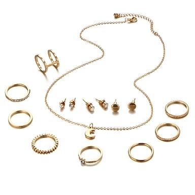 نسائي عقد حلقات خاتم بأصابيع متعددة كلاسيكي MOON سيدات استوائي رومانسي الأقراط مجوهرات ذهبي / فضي من أجل مناسب للخارج مهرجان