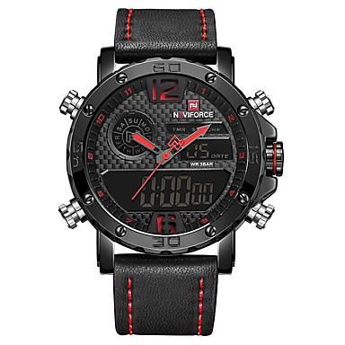 98aaa974f رخيصةأون ساعات الرجال-NAVIFORCE رجالي ساعة رياضية ساعة المعصم ساعة رقمية  ياباني كوارتز ياباني جلد