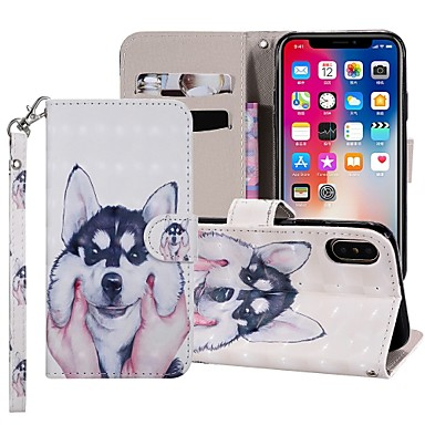 voordelige iPhone 6 Plus hoesjes-hoesje Voor Apple iPhone XS / iPhone XR / iPhone XS Max Portemonnee / Kaarthouder / met standaard Volledig hoesje Hond Hard PU-nahka