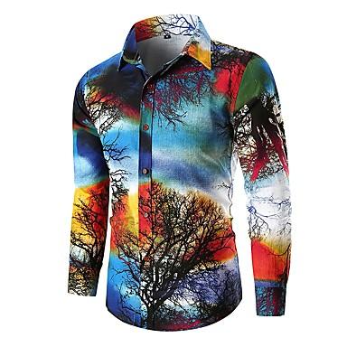 رجالي أساسي قطن قميص, ألوان متناوبة / كم طويل