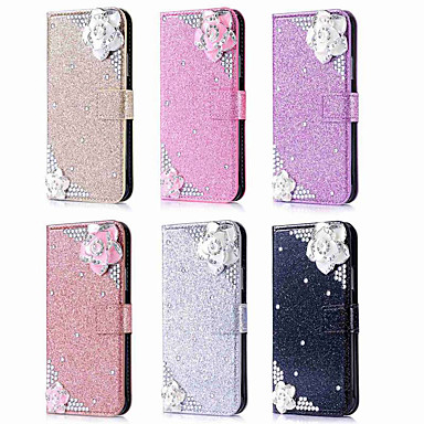 Case For Apple iPhone XR / iPhone XS Max Wallet / Card Holder / Rhinestone Full Body Cases Glitter Shine / Rhinestone / Flower Hard PU Leather for iPhone XS / iPhone XR / iPhone XS Max