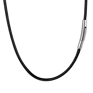 abordables Collar Hombre-Hombre Trenzado Collar Acero inoxidable Piel Moda Negro 55 cm Gargantillas Joyas 1pc Para Regalo Diario