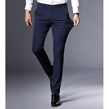 رجالي أساسي مناسب للبس اليومي نحيل تشينوز بنطلون - لون سادة أسود أزرق البحرية 29 30 31