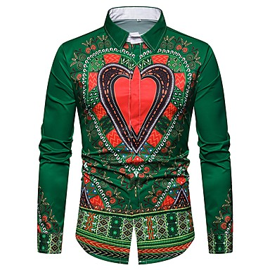 economico Abbigliamento uomo-Camicia Per uomo Tribale Verde L / Manica lunga