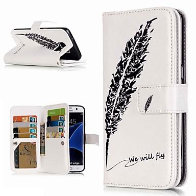 Недорогие Чехлы и кейсы для Galaxy S3-Кейс для Назначение SSamsung Galaxy S9 / S9 Plus / S8 Plus Кошелек / Бумажник для карт / со стендом Чехол Перья Твердый Кожа PU