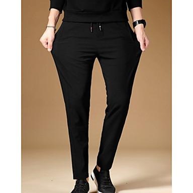 tanie Męskie spodnie i szorty-Męskie Bawełna Szczupła Typu Chino Spodnie - Solidne kolory Czarny