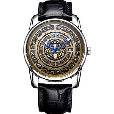 Χαμηλού Κόστους Ανδρικά ρολόγια-Angela Bos Ανδρικά μηχανικό ρολόι Ιαπωνικά Αυτόματο κούρδισμα Γνήσιο δέρμα Μαύρο / Καφέ 30 m Ανθεκτικό στο Νερό Ημερολόγιο Καθημερινό Ρολόι Αναλογικό Βίντατζ Καθημερινό - Ξάνθο Ανοικτό Ασημί / Γκρίζο