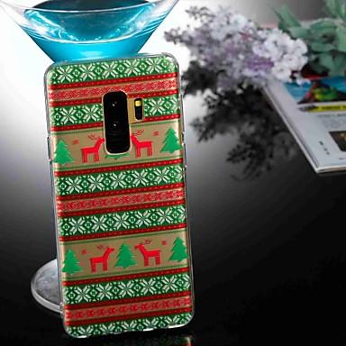 Недорогие Чехлы и кейсы для Galaxy S6 Edge-Кейс для Назначение SSamsung Galaxy S9 / S9 Plus / S8 Plus Прозрачный / С узором Кейс на заднюю панель Животное / Рождество Мягкий ТПУ