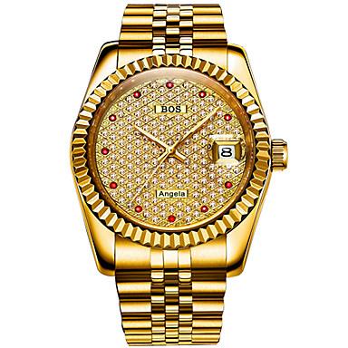 Недорогие Часы на металлическом ремешке-Angela Bos Муж. Механические часы Японский С автоподзаводом Нержавеющая сталь Серебристый металл / Золотистый 30 m Защита от влаги Календарь Повседневные часы Аналоговый На каждый день Мода -