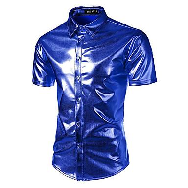 baratos Roupa de Homem Moderna-Homens Camisa Social - Festa / Bandagem Luxo Básico, Sólido Colarinho Clássico Delgado Prata L / Manga Curta / Verão