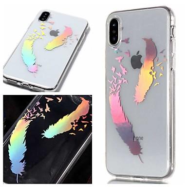 voordelige iPhone 5 hoesjes-hoesje Voor Apple iPhone XS / iPhone XR / iPhone XS Max IMD / Transparant / Patroon Achterkant Veren Zacht TPU