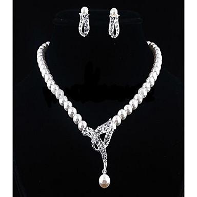 cheap Jewelry Sets-Women  039 s White Cubic Zirconia Beads Jewelry Set Pearl 4b0da6995280