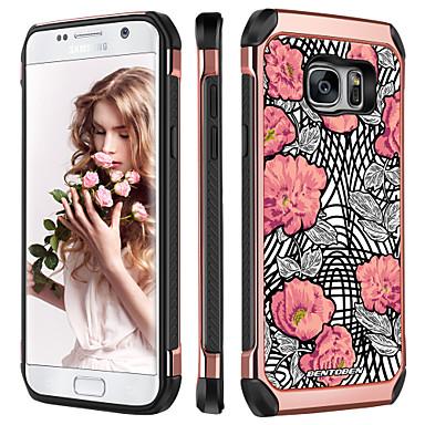 voordelige Galaxy S-serie hoesjes / covers-BENTOBEN hoesje Voor Samsung Galaxy S7 Schokbestendig / Beplating / Patroon Achterkant Planten / Bloem Hard TPU / PC voor S7