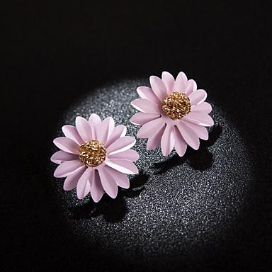여성용 멀티 레이어 스터드 귀걸이 귀걸이 꽃잎 숙녀 한국어 보석류 옐로우 / 그린 / 밝은 핑크 제품 일상 1 쌍