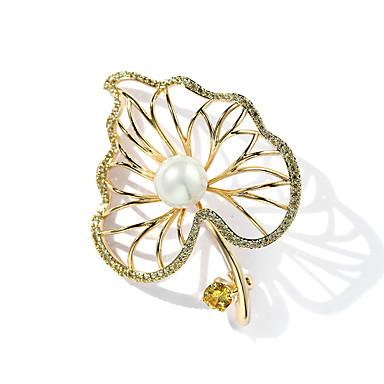 608ebf545287 Mujer Circonita Broche Perla Chapado en Oro Forma de Hoja damas De moda  Broche Joyas Dorado
