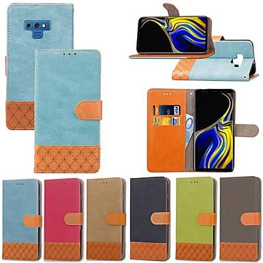 Недорогие Чехлы и кейсы для Galaxy Note 3-Кейс для Назначение SSamsung Galaxy Note 9 / Note 8 / Note 5 Бумажник для карт / Защита от удара / со стендом Чехол Однотонный / Геометрический рисунок Твердый текстильный