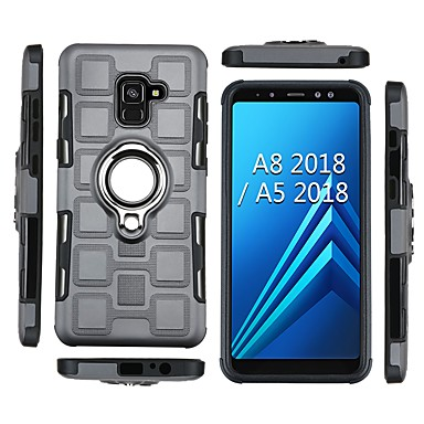 voordelige Galaxy A-serie hoesjes / covers-hoesje Voor Samsung Galaxy A5(2018) / A8 2018 / A8+ 2018 Schokbestendig / Ringhouder Achterkant Schild Zacht TPU