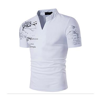 economico Magliette da uomo-T-shirt Per uomo Sport Attivo / Boho Con stampe Colletto alla coreana - Cotone Nero L / Manica corta / Estate / Taglia piccola