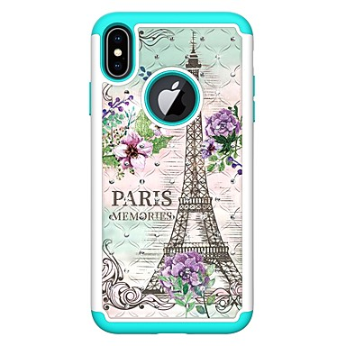 voordelige iPhone X hoesjes-hoesje Voor Apple iPhone XS / iPhone XR / iPhone XS Max Strass / Patroon Achterkant Landschap / Eiffeltoren Hard PU-nahka