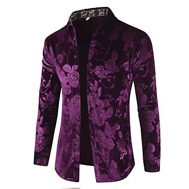 economico Abbigliamento uomo-Camicia Per uomo Lusso / Essenziale Con stampe, Tinta unita / Fantasia floreale Cotone Nero XL / Manica lunga