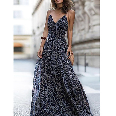 cheap Women's Dresses-Women's Party Daily Beach Maxi Tunic Dress - Leopard V Neck Blue Dark Gray Fuchsia M L XL / Sexy