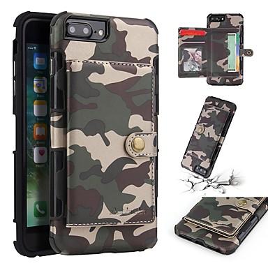 voordelige iPhone 6 hoesjes-hoesje Voor Apple iPhone 8 Plus / iPhone 8 / iPhone 7 Plus Portemonnee / Kaarthouder / Schokbestendig Achterkant Effen / Camouflage Kleur Zacht TPU