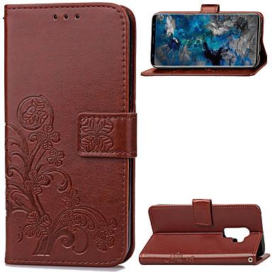 Недорогие Чехлы и кейсы для Galaxy S-Кейс для Назначение SSamsung Galaxy S9 / S9 Plus Кошелек / Бумажник для карт / со стендом Чехол Однотонный Мягкий Кожа PU