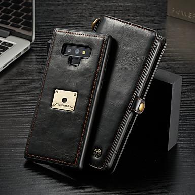 Недорогие Чехлы и кейсы для Galaxy Note-Кейс для Назначение SSamsung Galaxy Note 9 Кошелек / Бумажник для карт / Флип Чехол Однотонный Твердый Кожа PU