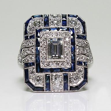 billige Damesmykker-Dame Ring / tommelfingerring 1pc Blå Legering Sirkelformet Europeisk / trendy / Romantikk Bryllup / Stevnemøte Kostyme smykker