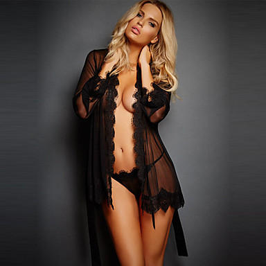 cheap Robes & Pajamas-Women's Sexy Lace Lingerie / Robes / Suits Nightwear - Lace, Gift Solid Colored