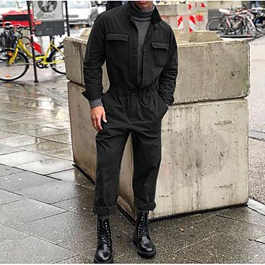 povoljno Moderna odjeća za muškarce-Muškarci Dnevno Osnovni Crn Sive boje Vojska Green Jumpsuits, Jednobojni XL XXL XXXL Dugih rukava