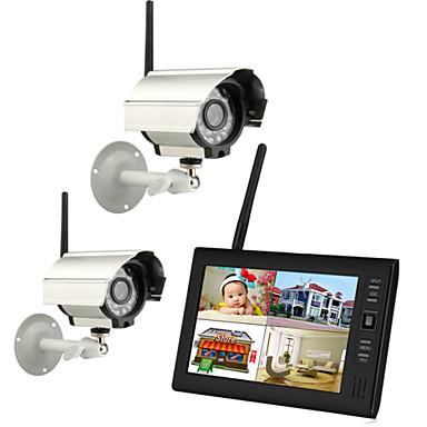 """halpa CCTV-järjestelmät-uusi langaton 4ch Quad DVR 2 kameroiden kanssa 7 """"tft-lcd-näyttö kodin turvajärjestelmää"""