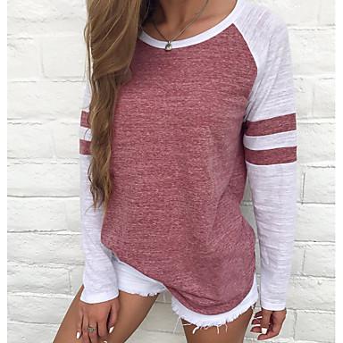 billige Dametøj-Dame - Farveblok Stribe / Basale Basale Plusstørrelser T-shirt Rød XXXL / Forår / Sommer / Efterår / Vinter