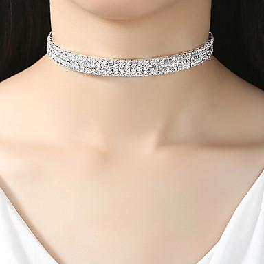 billige Mode Halskæde-Dame Tenniskæde Moment Simuleret diamant Europæisk Mode Elegant Sølv 40 cm Halskæder Smykker 1pc Til Bryllup Forlovelse