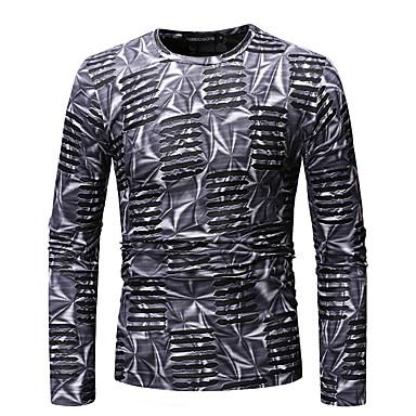 Men's Basic / Exaggerated T-shirt - Color Block Print
