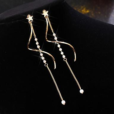 ieftine Cercei-Pentru femei Alb Apă dulce Pearl Cercei Picătură Lung Corean Perle Placat Auriu cercei Bijuterii Auriu Pentru Stradă 1 Pair