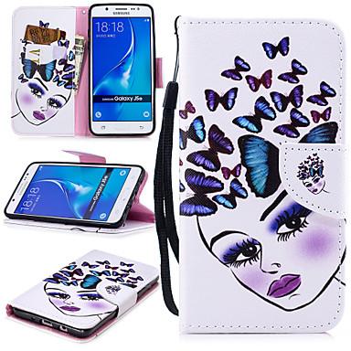voordelige Galaxy J-serie hoesjes / covers-hoesje Voor Samsung Galaxy J5 (2016) Portemonnee / Kaarthouder / Schokbestendig Volledig hoesje Vlinder / Sexy dame Hard PU-nahka