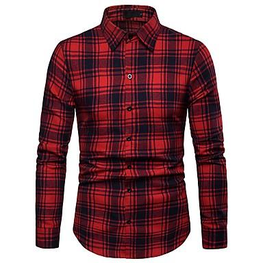 billige Herrers Mode Beklædning-Herre - Stribet / Ruder Bomuld, Trykt mønster Basale Skjorte Blå L / Langærmet