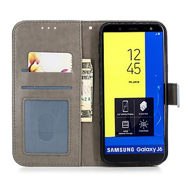 voordelige Galaxy J-serie hoesjes / covers-hoesje Voor Samsung Galaxy J8 (2018) / J7 (2017) / J6 (2018) Portemonnee / Kaarthouder / met standaard Volledig hoesje Fruit / Bloem Hard PU-nahka