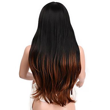Peruci Sintetice Ondulat Stil Cu breton Fără calotă Perucă Negru Negru / Auburn Brown Păr Sintetic 26 inch Pentru femei Păr Ombre / Rădăcini Închise Negru Perucă Lung Halloween Wig