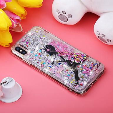 voordelige iPhone 5 hoesjes-hoesje Voor Apple iPhone XS / iPhone XR / iPhone XS Max Schokbestendig / Stromende vloeistof / Patroon Achterkant Sexy dame / Glitterglans Zacht TPU